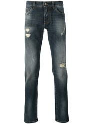 Dolce And Gabbana Distressed Jeans Men Cotton Spandex Elastane 50 Blue
