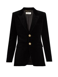 Saint Laurent Peak Lapel Single Breasted Velvet Jacket Black