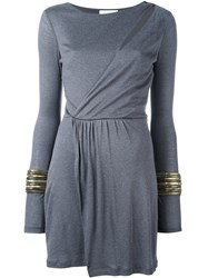 Balmain Pierre Asymmetric Wrap Dress Grey