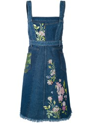 Alexander Mcqueen Floral Embroidered Denim Dress Women Cotton 40 Blue