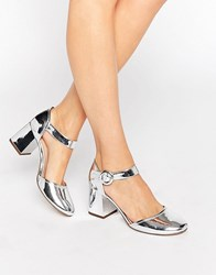 Kg By Kurt Geiger Poppy Square Toe Block Heel Mary Jane Silver