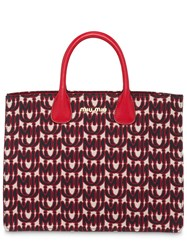 Miu Miu Jacquard And Leather Tote Red