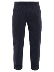 Folk Assembly Cropped Cotton Twill Chino Trousers Navy