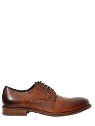 Cerbero Saffiano Effect Leather Derby Shoes Brown