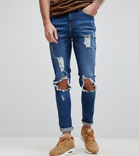 Brooklyn Supply Co. Co Muscle Fit Jeans With Rip And Repair Bl1 Blue 1