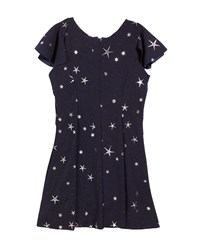 Zoe Star Print Fit And Flare Short Sleeve Dress Blue