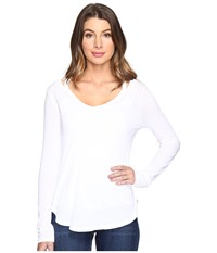 Splendid Long Sleeve V Neck Top Paper Women's Long Sleeve Pullover White