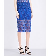 Sandro Lagon Floral Lace Skirt Egyptian Blue