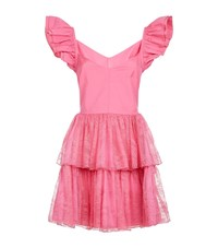 Pinko Frill Sleeve Lace Tiered Dress Female Pink