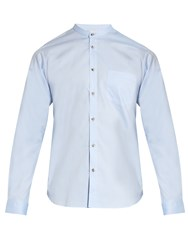 Orley Raw Edge Band Collar Cotton Shirt Light Blue