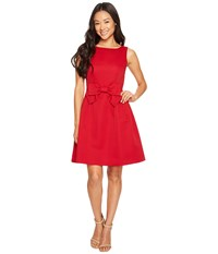 Tahari By Arthur S. Levine Petite Bow Fit And Flare Dress Cherry Red Women's Dress