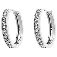 Monet Crystal Hoop Earrings Silver