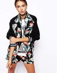 Asos Reclaimed Vintage Bomber Jacket In Hawaiian Print Multi