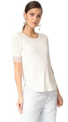 3.1 Phillip Lim Rib T Shirt With Lace Sleeve Detail Ant. White