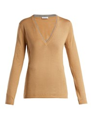 Gabriela Hearst Lorenco Cashmere And Silk Blend Sweater Camel