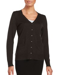 Lord And Taylor Merino Wool Button Front Cardigan Dolce Heather