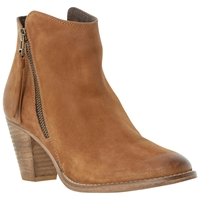 Dune Pollie Leather Western Style Mid Heel Ankle Boots