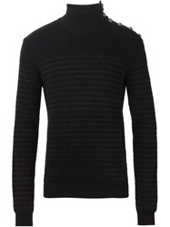 Balmain Striped Turtle Neck Sweater Black