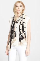 Kate Spade 'Window Panes' Scarf Deco Beige