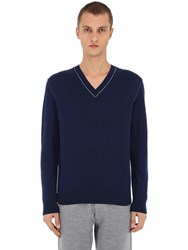 Falke Luxury V Neck Virgin Wool And Cashmere Sweater Navy