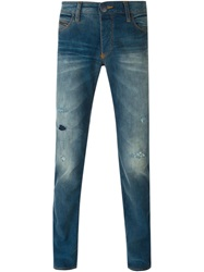 Armani Jeans Distressed Slim Jeans Blue
