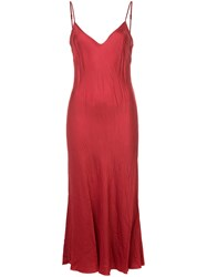 Organic By John Patrick Long Bias Slip Dress Cupro Red