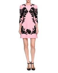 Dolce And Gabbana 3 4 Sleeve Mirrored Lace Dress Pink Black Pink Pattern
