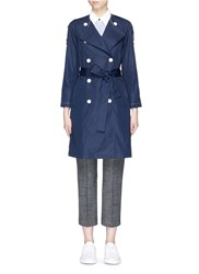 Theory 'Waleria' Belted Trench Coat Blue