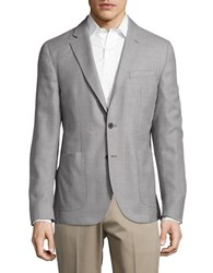 Hardy Amies Woven Wool Blazer Light Grey