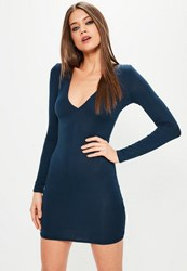 Missguided Navy Plunge Long Sleeve Bodycon Dress