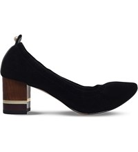 Kg By Kurt Geiger Essence Block Heel Suede Courts Black