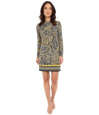 Michael Michael Kors Ashby Long Sleeve Boat Neck Border Dress Sunflower New Navy Women's Dress Yellow