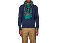 Drakes Tiger Print Wool Voile Scarf Blue