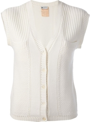 Courreges Vintage Knit Cardigan Nude And Neutrals