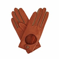 Gizelle Renee Bega Tan Brown Leather Driving Gloves With Coffee Cashmere