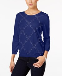 Alfred Dunner Petite Classics Embellished Sweater Royal