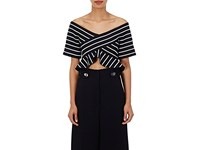 Proenza Schouler Women's Striped Abstract Jacquard Crop Top No Color