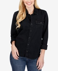 Lucky Brand Studded Denim Shirt Washed Black