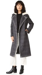Edun Long Double Breasted Coat Charcoal