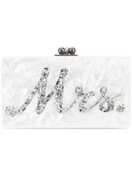 Edie Parker Marble Effect Boxy Clutch White