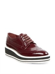Prada Patent Leather Brogue Platform Oxfords Granato