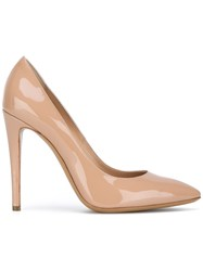 Emporio Armani Pointed Toe Pumps Women Leather Patent Leather 39 Nude Neutrals