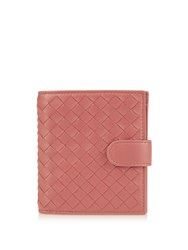 Bottega Veneta Intrecciato Leather Wallet Dark Pink