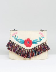 Skinnydip Straw Cross Body Bag With Pom And Tassel Detail Natural Beige