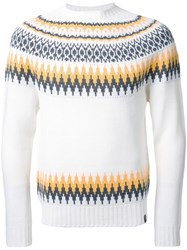 Bedwin And The Heartbreakers Fair Isle Knit Jumper White