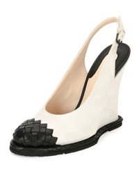 Bottega Veneta Intrecciato Toe Slingback Wedge Pump White Black
