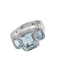 Effy Aquamarine Diamond And 14K White Gold Ring