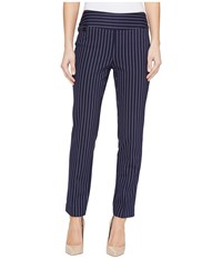 Lisette L Montreal Tailored Stripe Hollywood Print Ankle Pants Marine Blue Women's Casual Pants