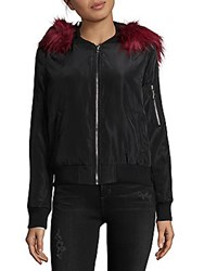 Bagatelle Faux Fur Trimmed Bomber Jacket Black