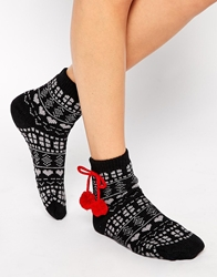 French Connection Black And Red Pom Pom Slipper Socks Blackred